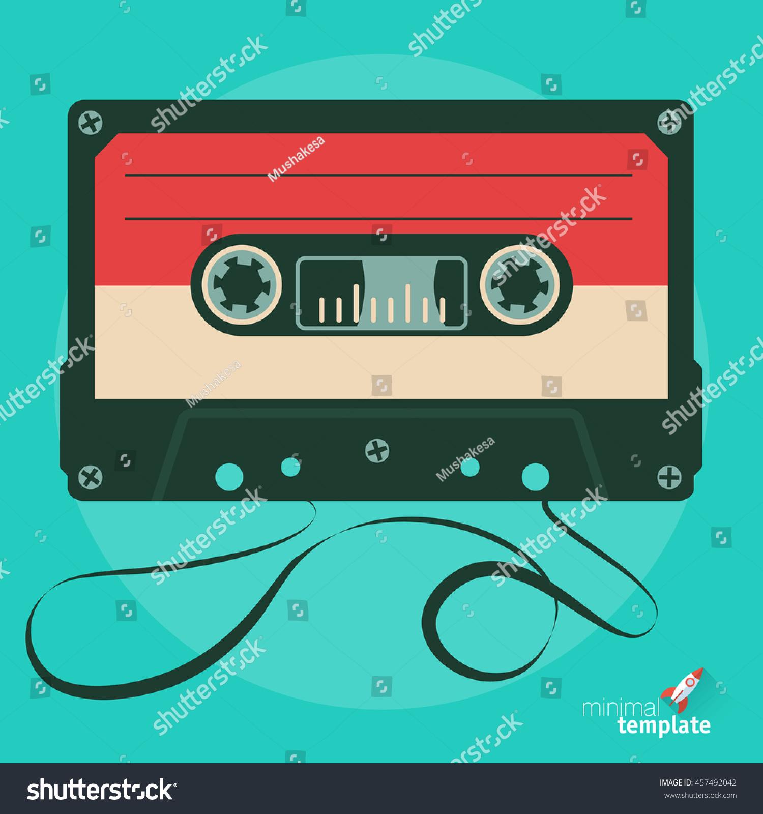 retro audio tape cassette flat design vector illustration. Black Bedroom Furniture Sets. Home Design Ideas