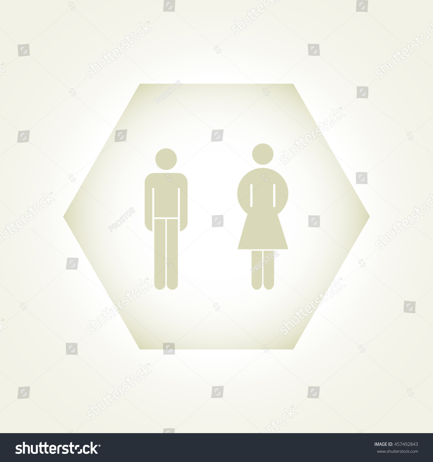 Vector man and woman icons, toilet sign, restroom icon, minimal  #457492843