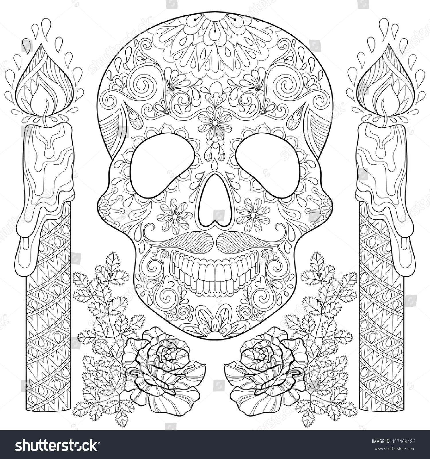 zentangle stylized skull candles roses halloween stock vector