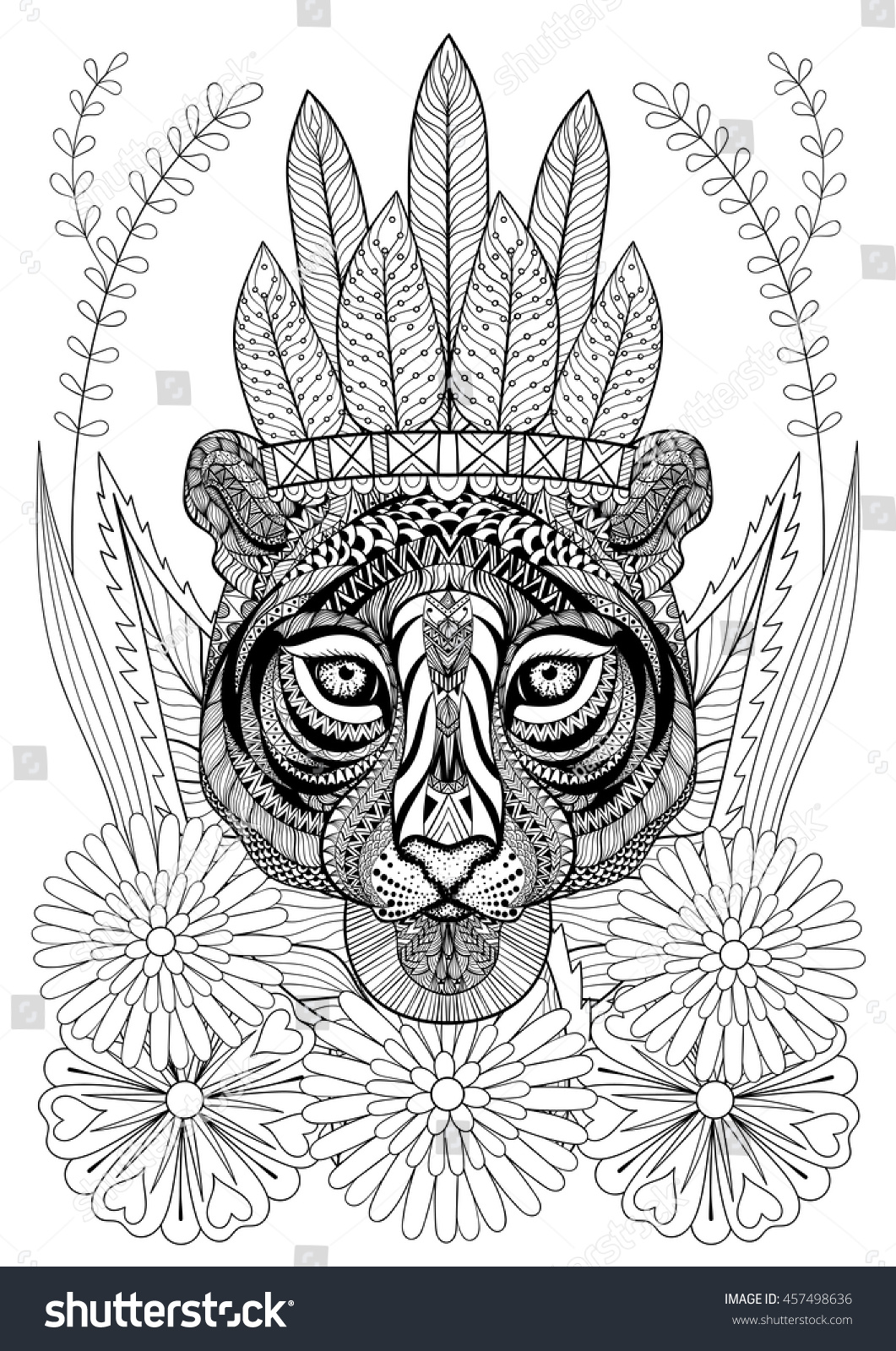 Zentangle Stylized Tiger With War Bonnet On Flowers Hand Drawn Ethnic Animal For Adult Coloring Page Therapy Boho T Shirt Patterned Print Posters