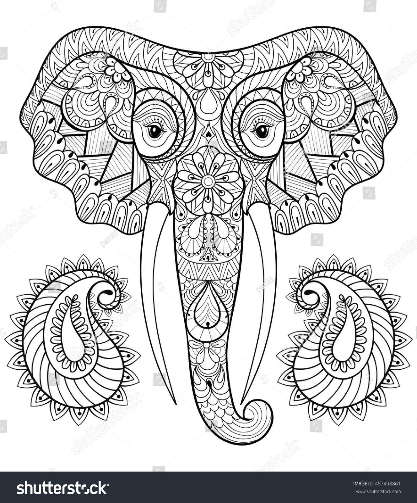 Royalty free zentangle stylized ethnic indian 457498861 for Paisley elephant coloring pages