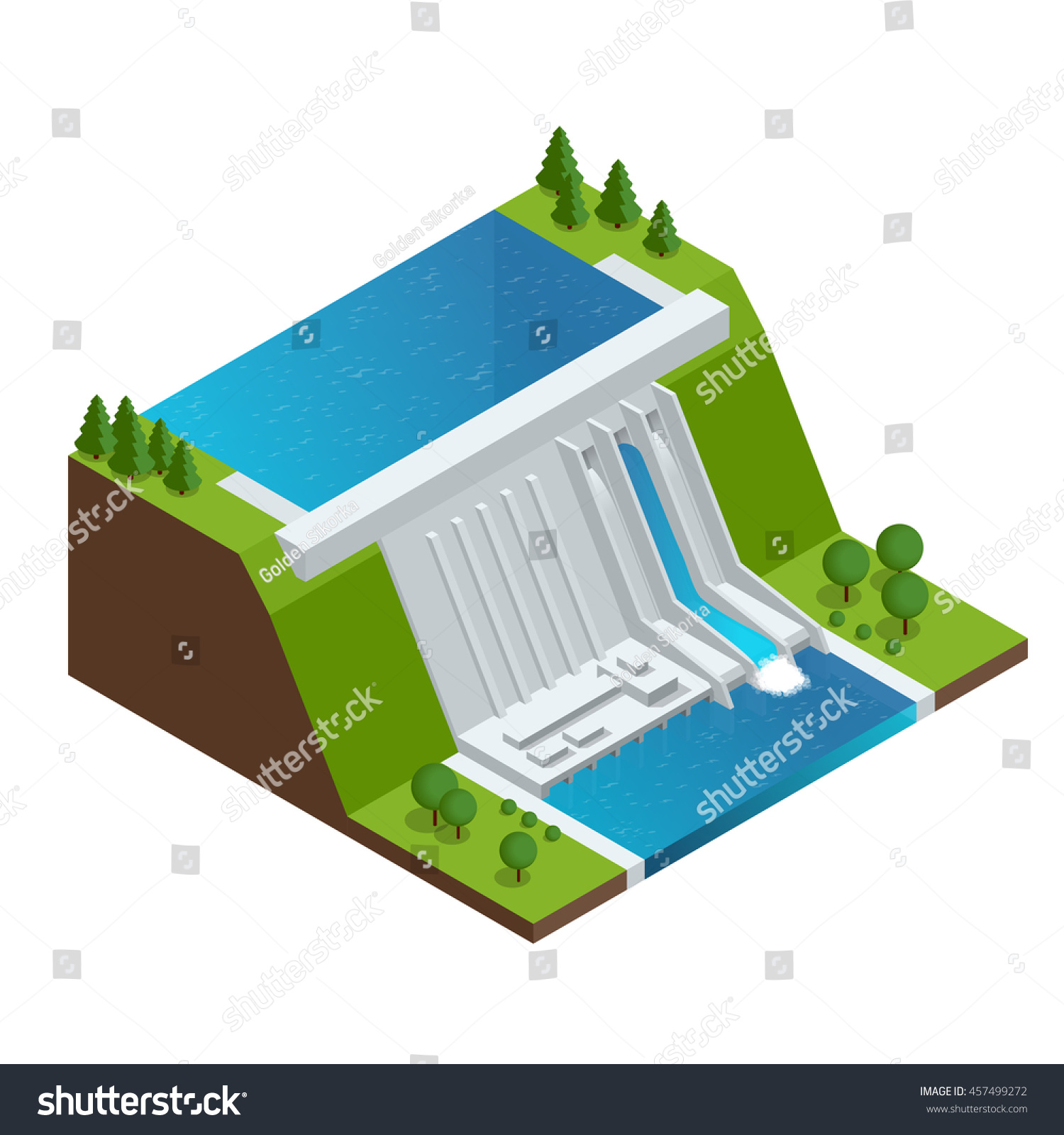Hydroelectric Power Plant Factory Electric Water Stock