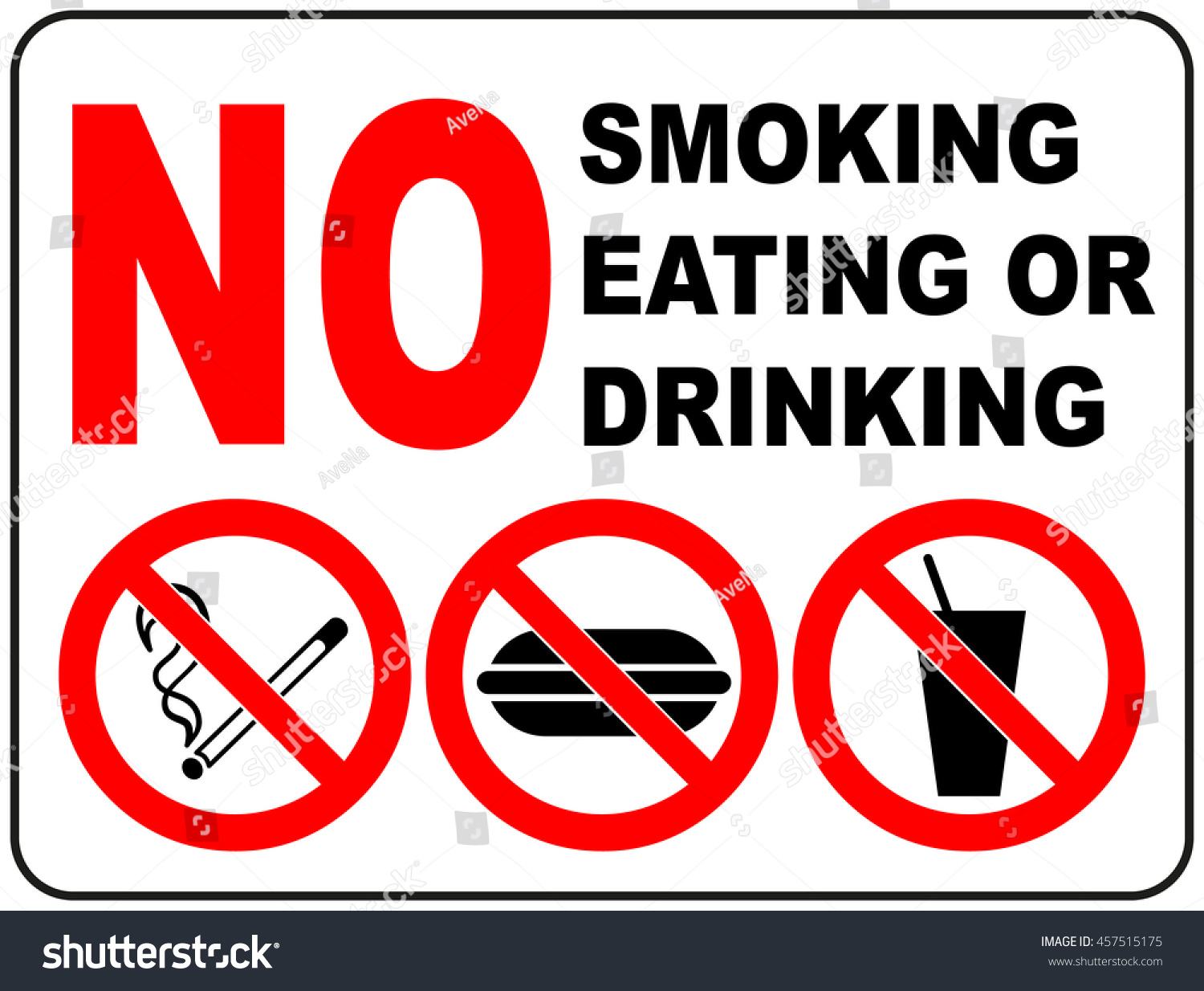 Prohibition Signs Smoking Eating Drinking General Stock
