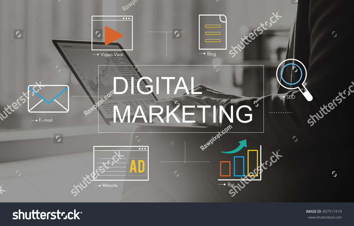 Digital Marketing Media Technology Graphic Concept #457517419