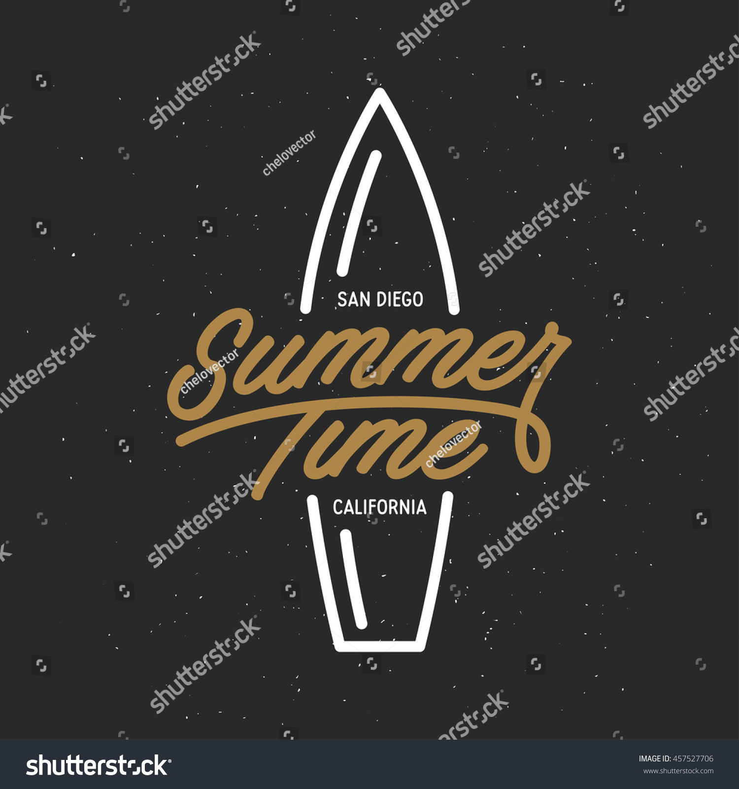 Shirt design san diego - Summer Time Lettering Poster San Diego Text Surfing Related T Shirt Design