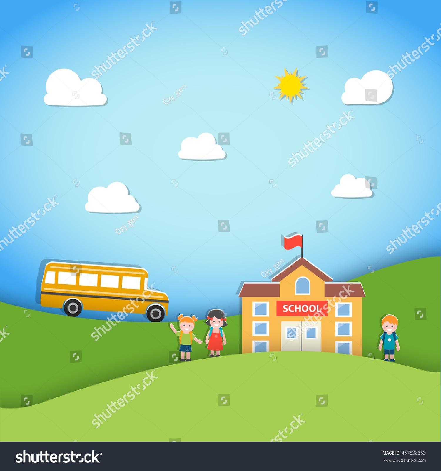 Back School Background School Building Bus Stock Vector