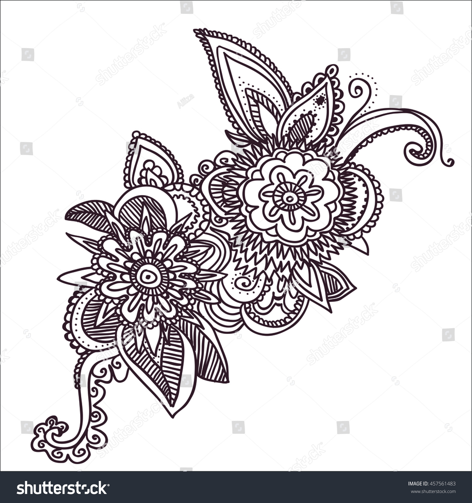 Black And White Original Hand Draw Line Art Indian Flower Design