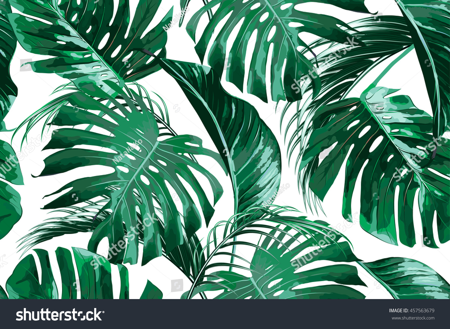 Tropical Palm Leaves Jungle Leaf Seamless Stock Vector Royalty Free 457563679