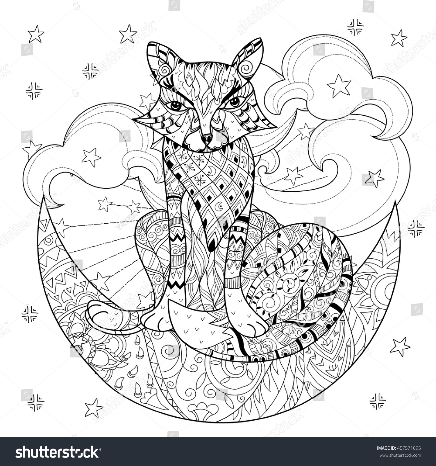Cute fox on christmas half moon with stars Hand drawn doodle zen art.Adult anti stress coloring book or tattoo boho style