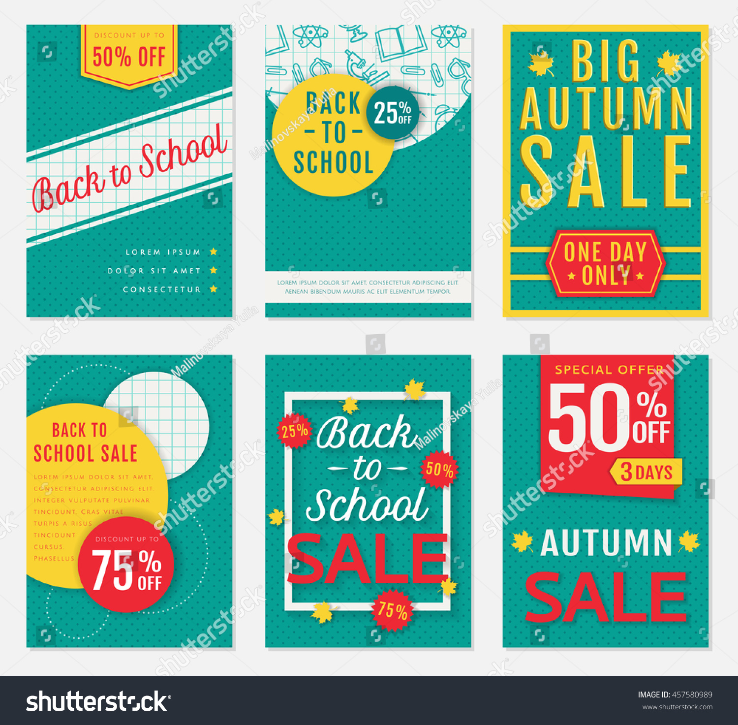 back school autumn discount banners templates stock vector back to school and autumn discount banners templates of advertising flyers for the seasonal s
