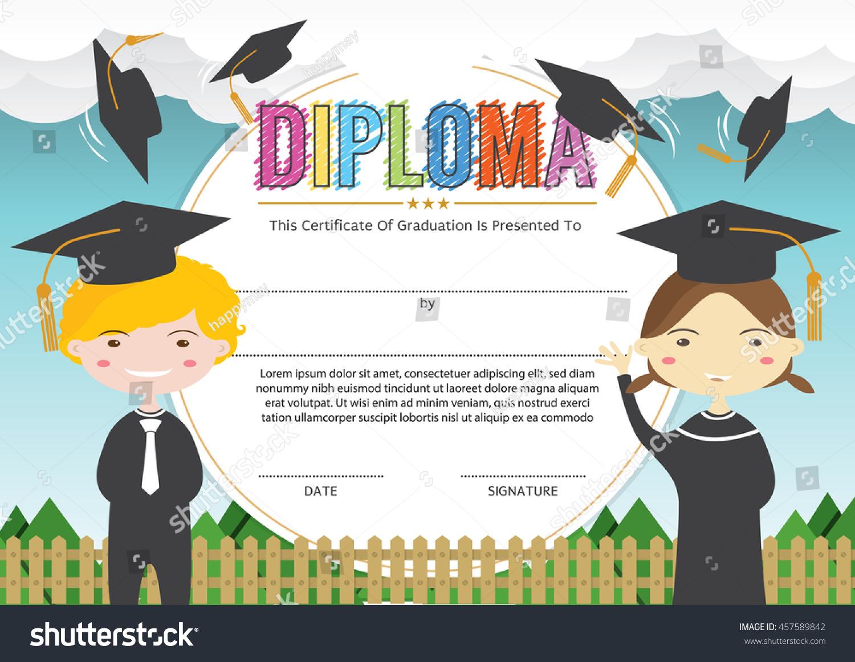 preschool elementary school kids diploma certificate stock vector  preschool elementary school kids diploma certificate stock vector 457589842 shutterstock