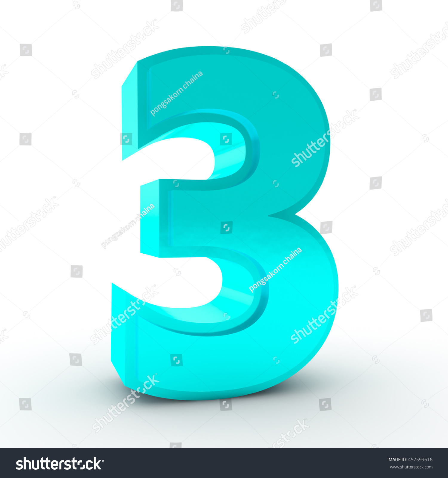 Number 3 Blue Color Collection On Stock Illustration 457599616 ...