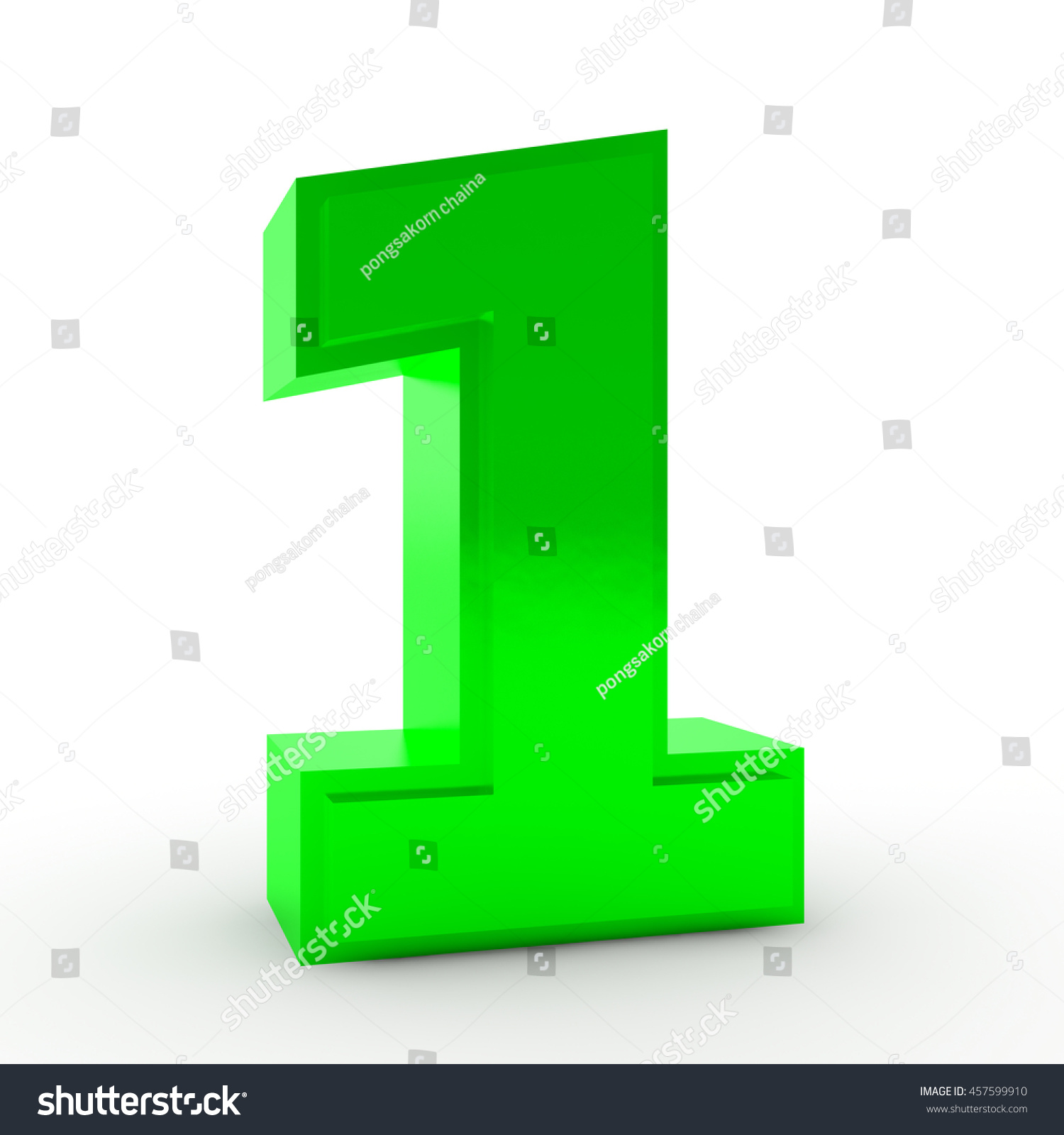 Number 1 Green Color Collection On Stock Illustration 457599910 ...