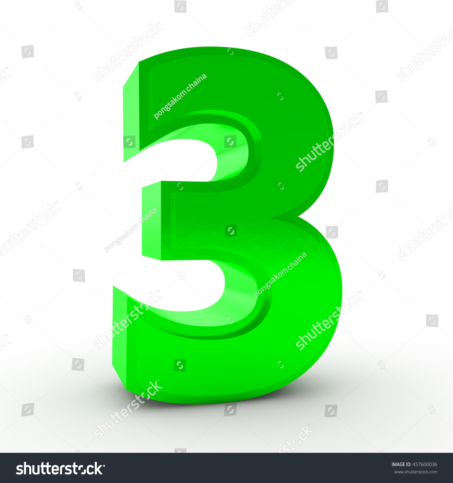 Number 3 Green Color Collection On Stock Illustration 457600036 ...
