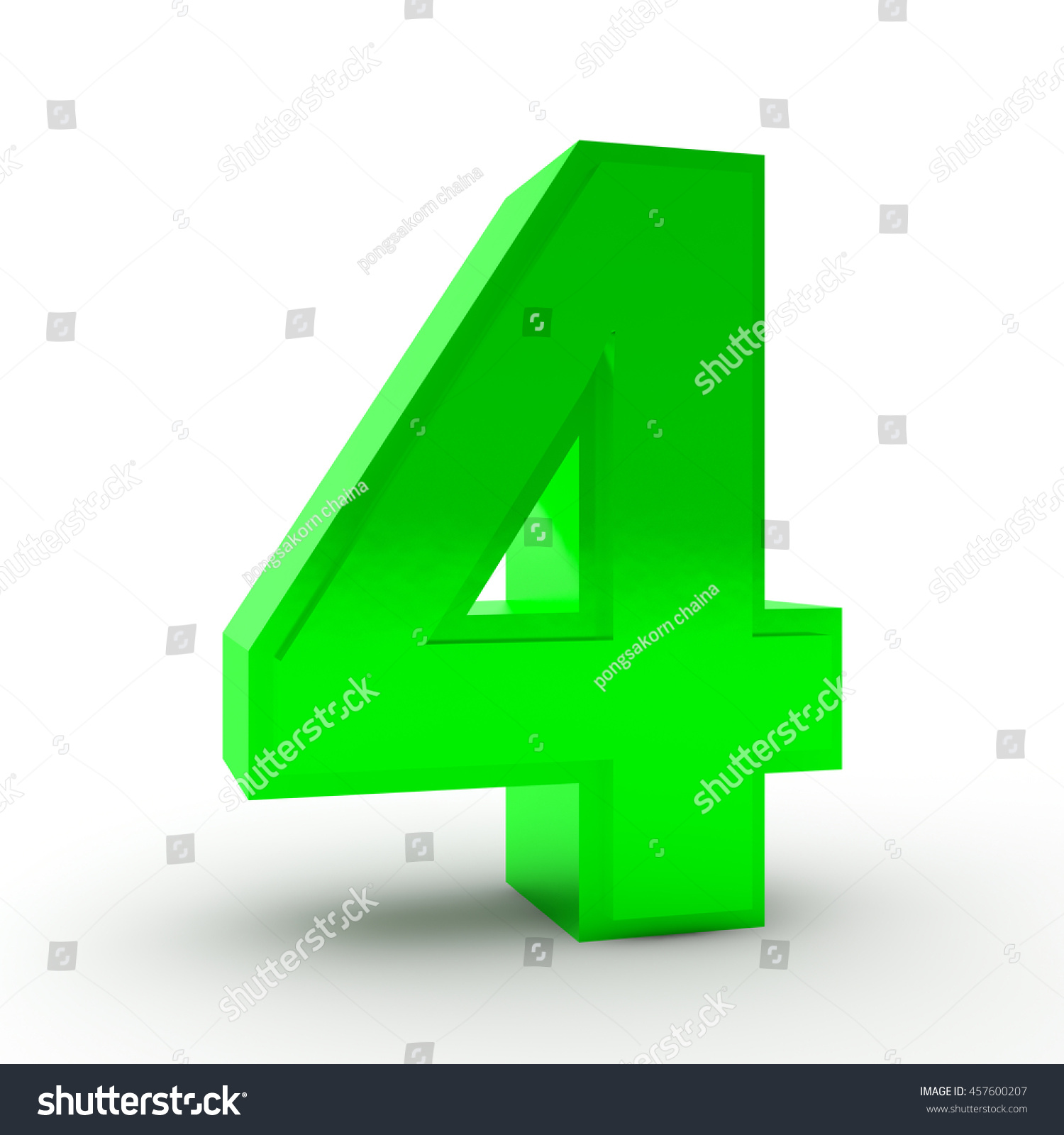Number 4 Green Color Collection On Stock Illustration 457600207 ...