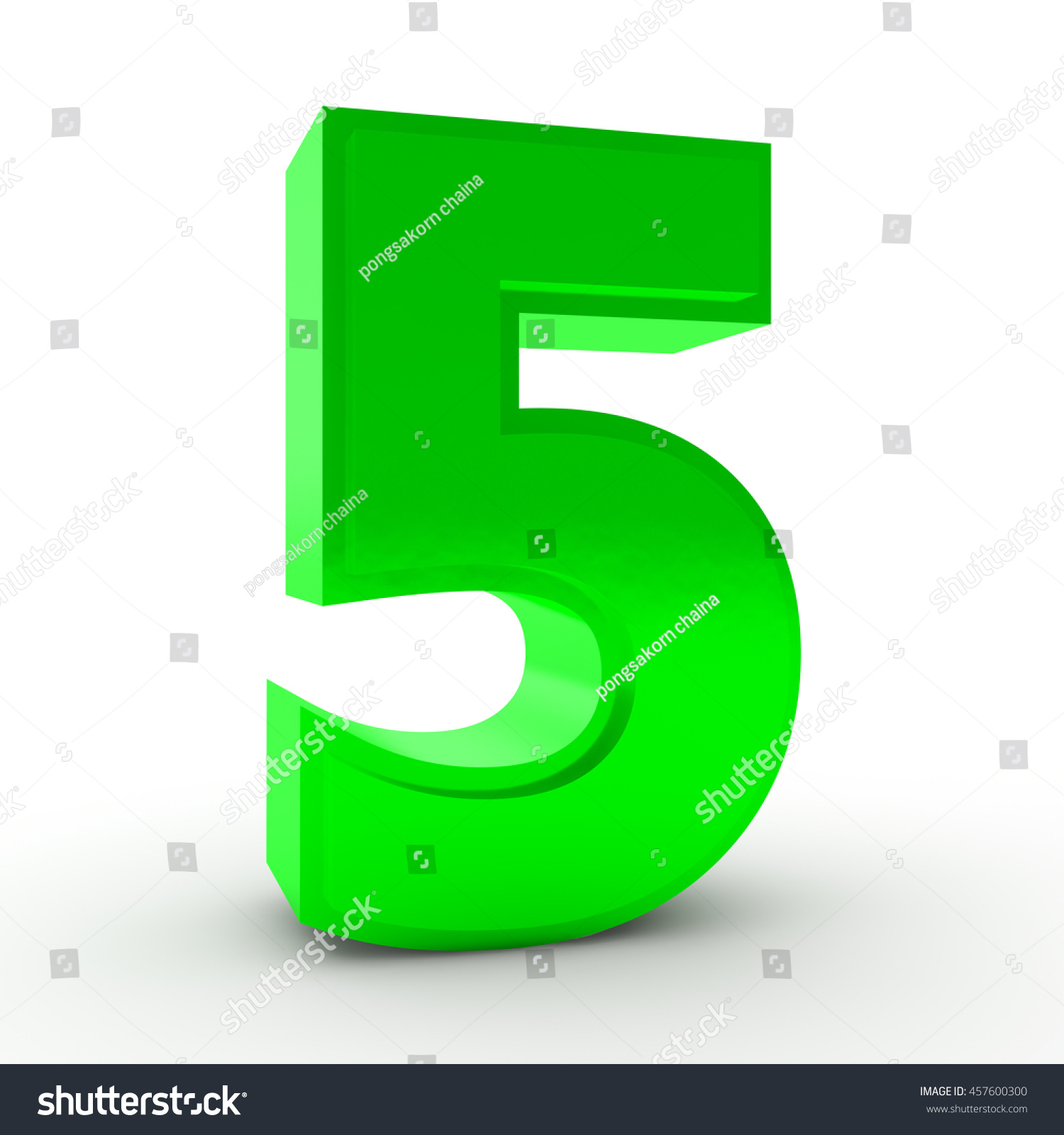 Number 5 Green Color Collection On Stock Illustration 457600300 ...