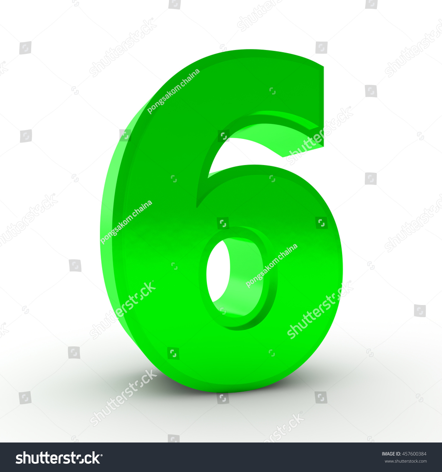 Number 6 Green Color Collection On Stock Illustration 457600384 ...