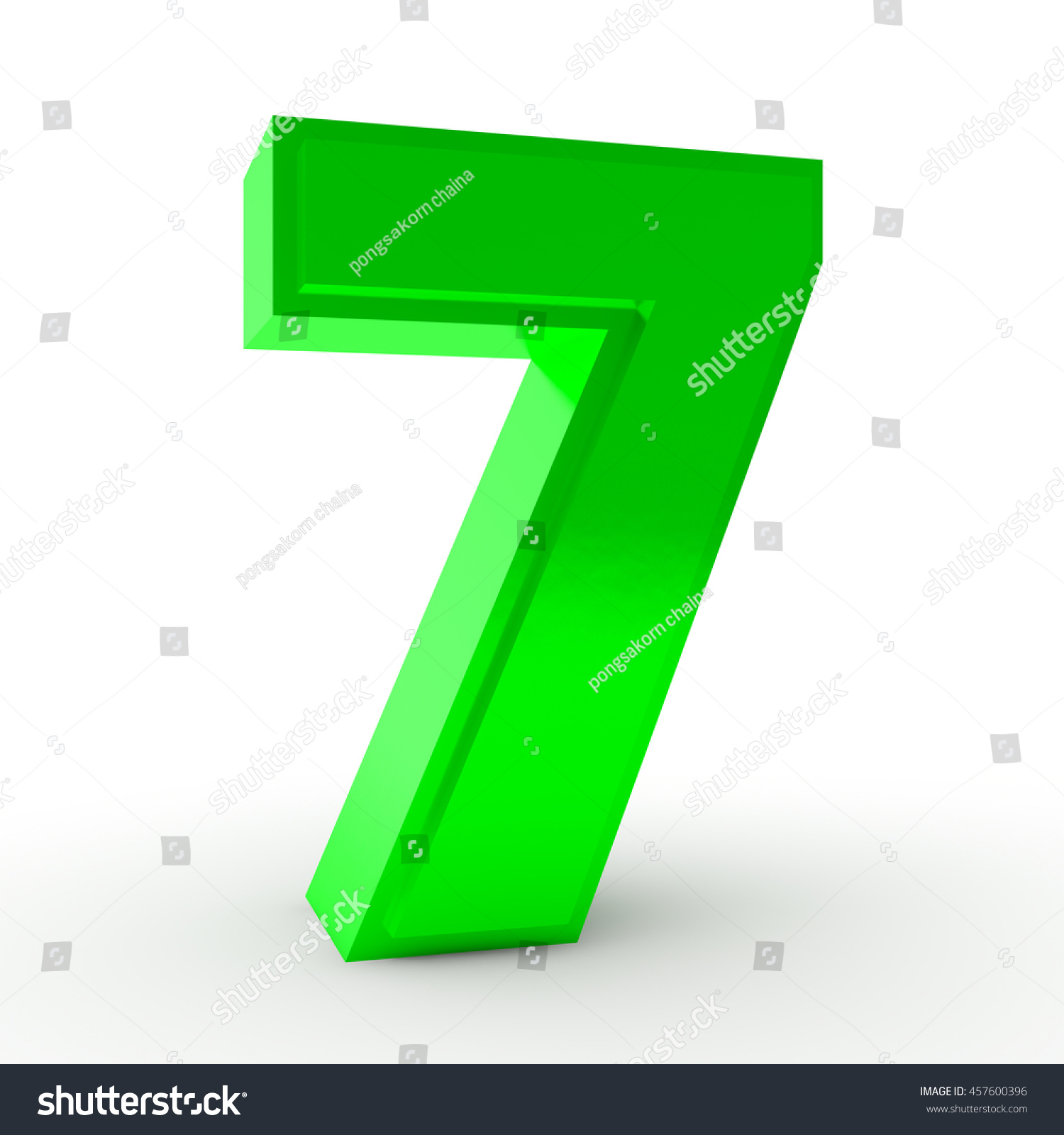 Number 7 Green Color Collection On Stock Illustration 457600396 ...