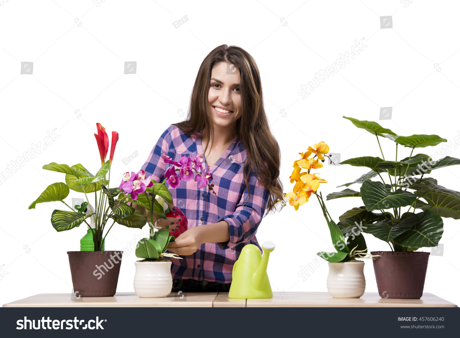 Young Woman Taking Care Home Plants Stock Photo 457606240