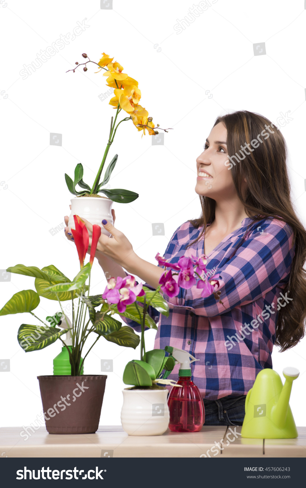 Young Woman Taking Care Home Plants Stock Photo 457606243