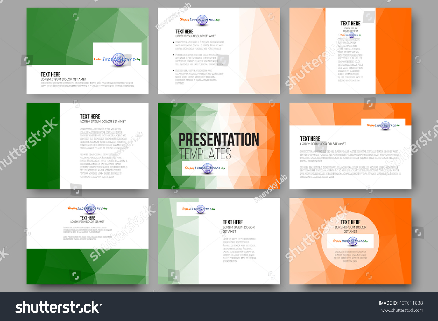 Colors website ashoka - Set Of 9 Vector Templates For Presentation Slides Happy Indian Independence Day Background With Ashoka