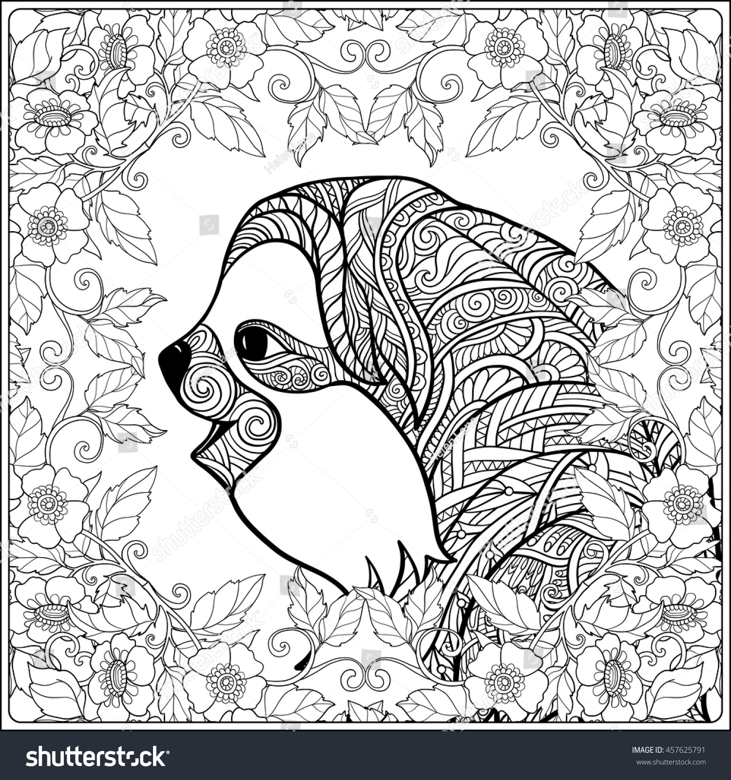 Sloth Coloring Page Coloring Page Lovely Sloth Forest Coloring Stock Vector 457625791
