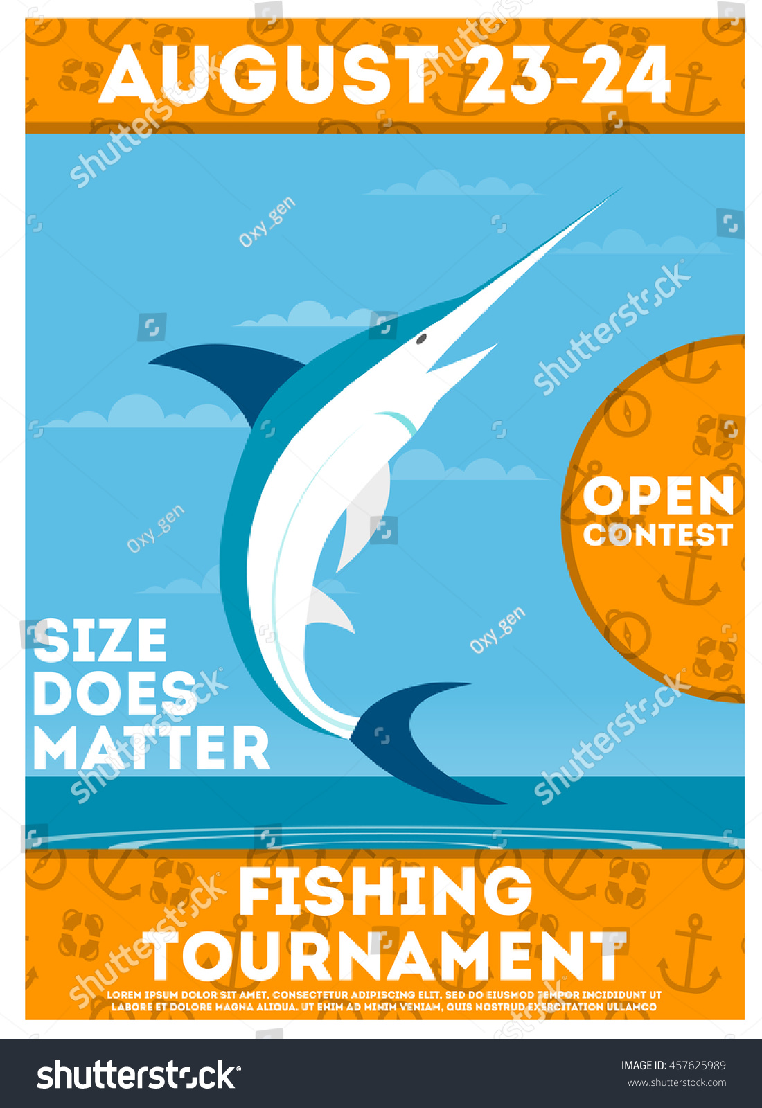 Fishing Tournament Poster Flyer Jumping Flying Stock Vector Royalty