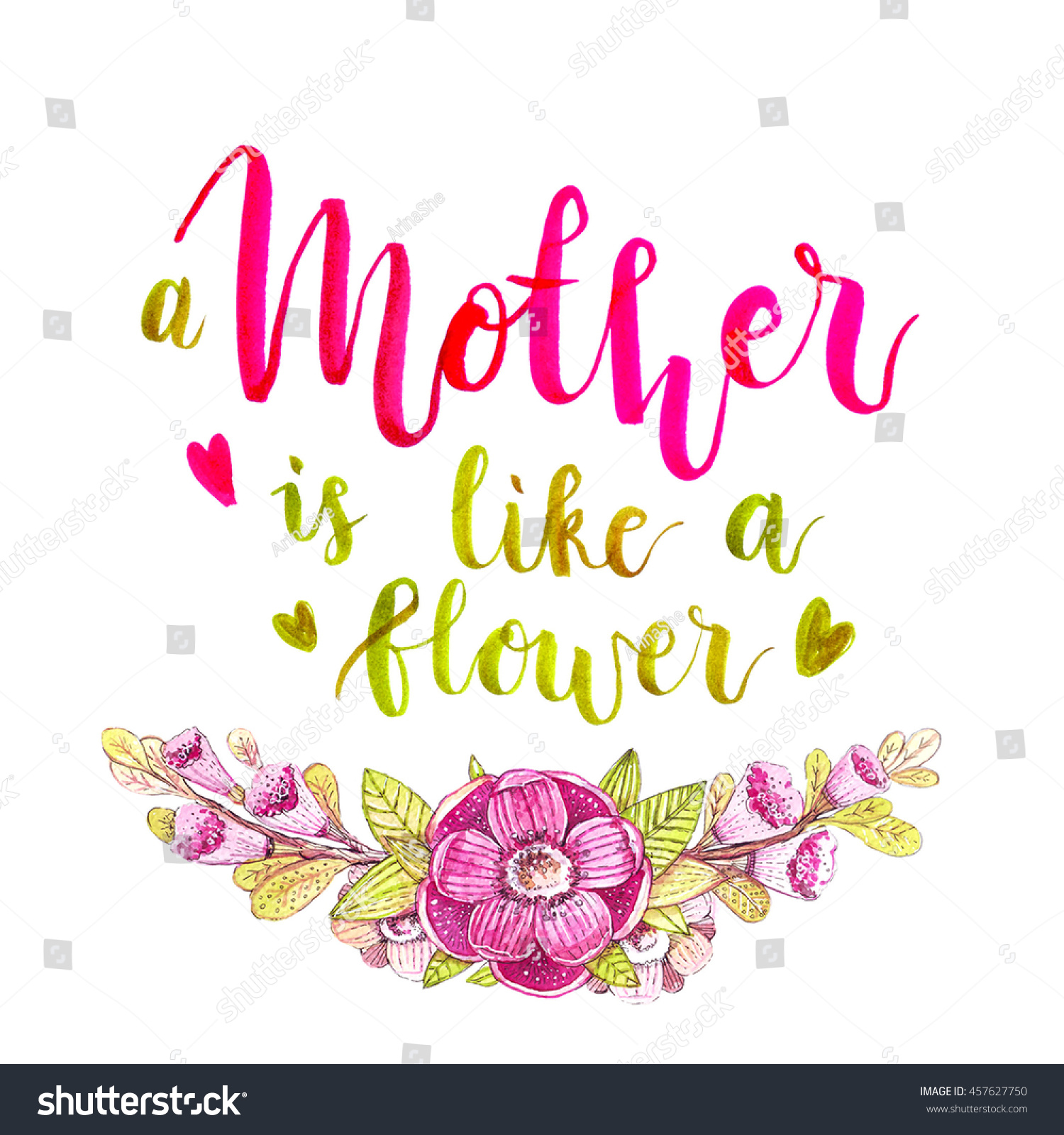 Beautiful Watercolor Lettering On Mothers Day Stock Illustration