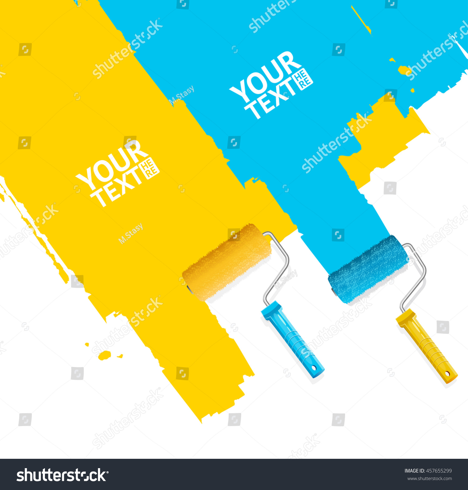 Roller Brush Painting Banner Your Business Stock Vector