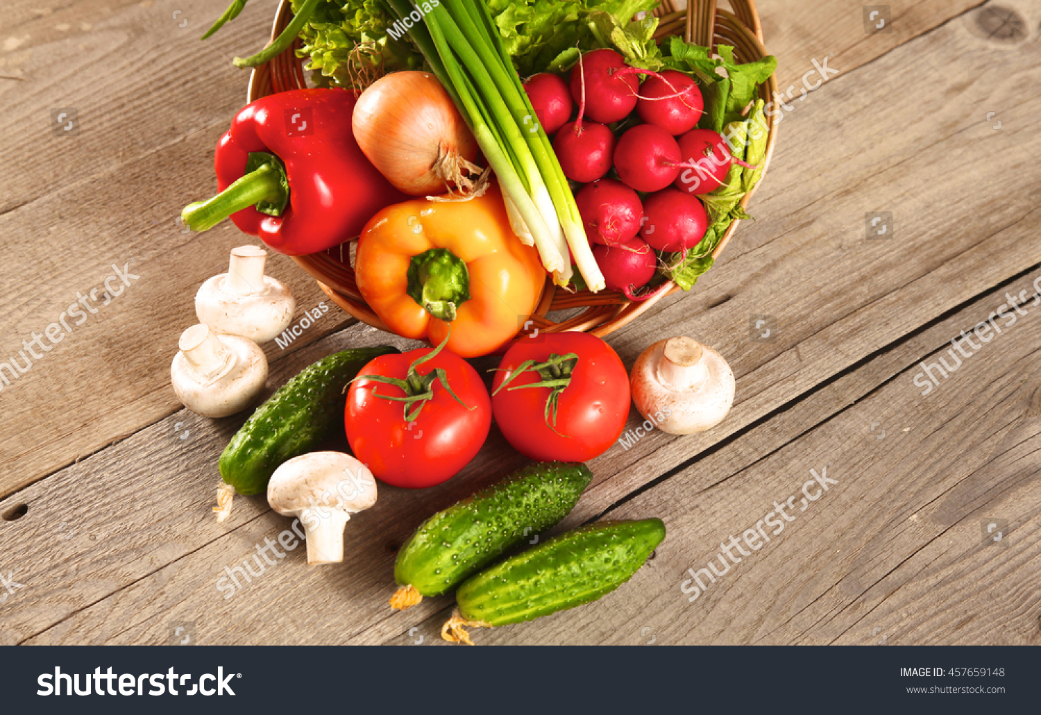 Fresh Vegetables On A Clean Wooden Table Stock Photo 457659148