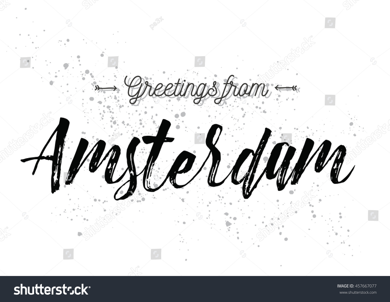 Greetings Amsterdam Netherlands Greeting Card Typography Stock
