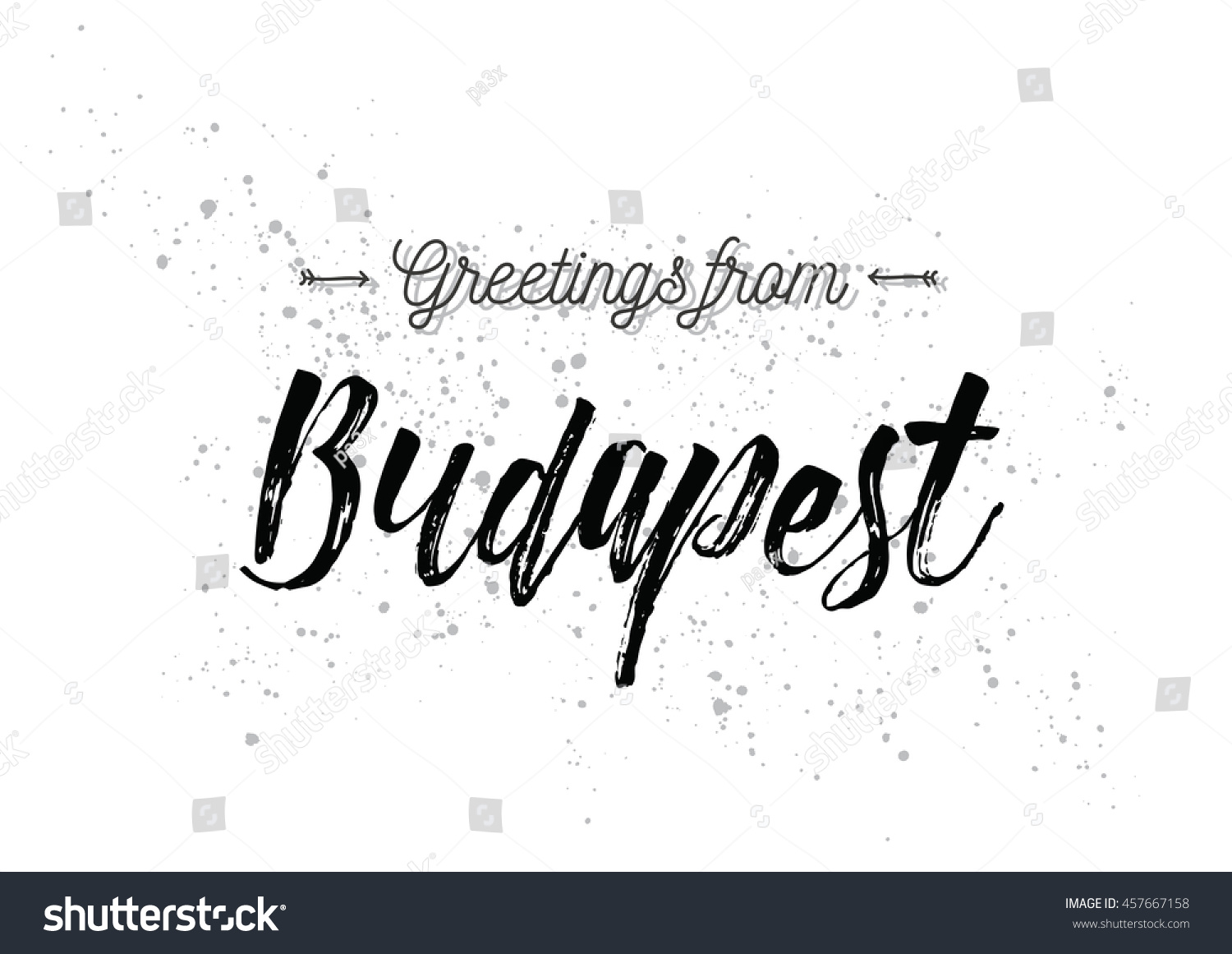 Greetings Budapest Hungary Greeting Card Typography Stock Vector
