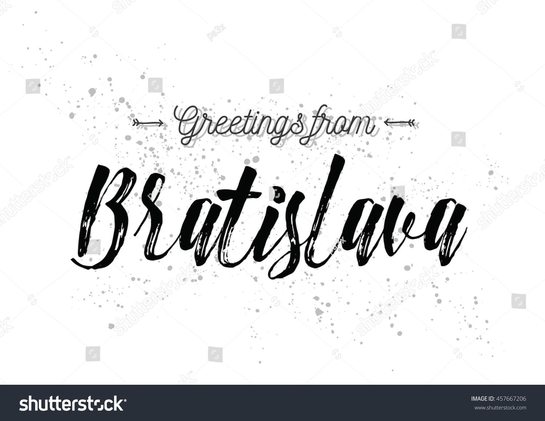 Greetings Bratislava Slovakia Greeting Card Typography Stock Vector