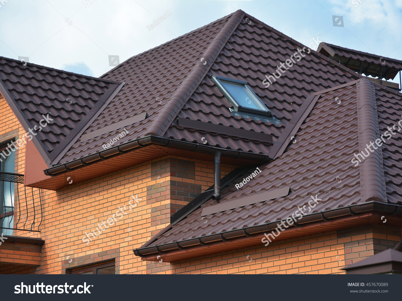 New Roofing Construction Attic Skylights Rain Stock Photo Edit Now 457670089