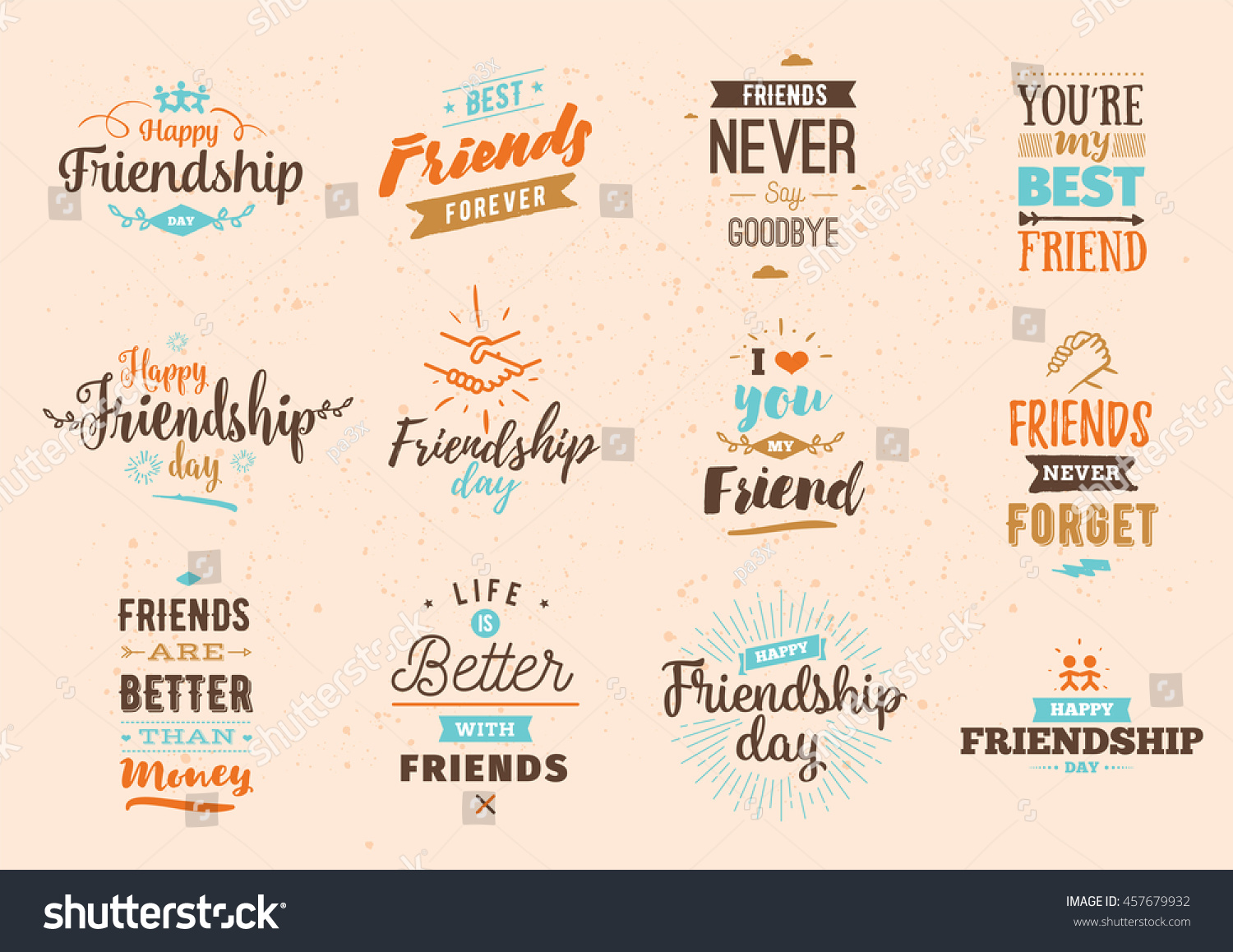 happy friendship day vector typographic colorful design inspirational quotes about friendship usable as friendship