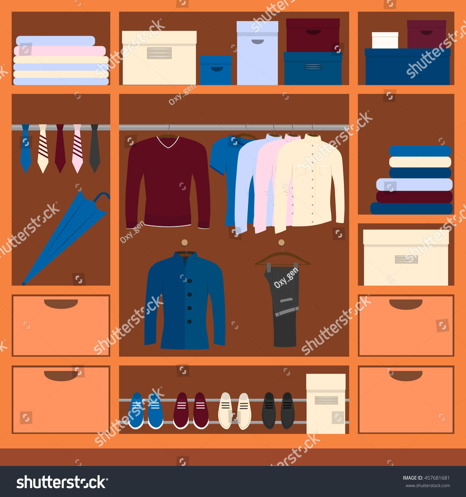 Men`s Wardrobe Space Vector Illustration With Clothing, Shoes And  Accessories. Closet For