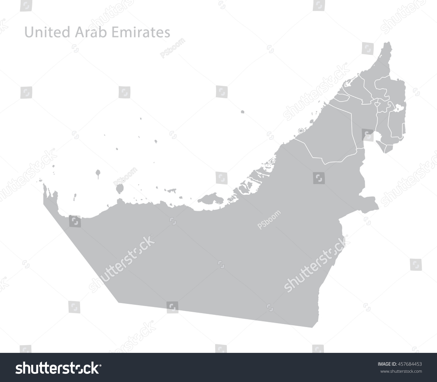 Map United Arab Emirates Stock Vector (Royalty Free) 457684453 ...
