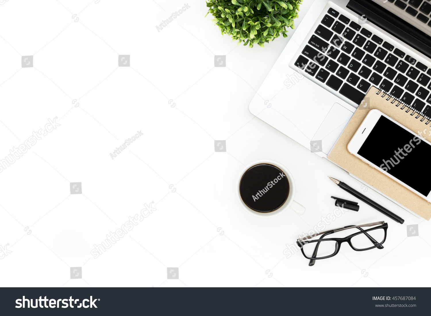 Modern White Office Desk Table Laptop Stock Photo 457687084 ...