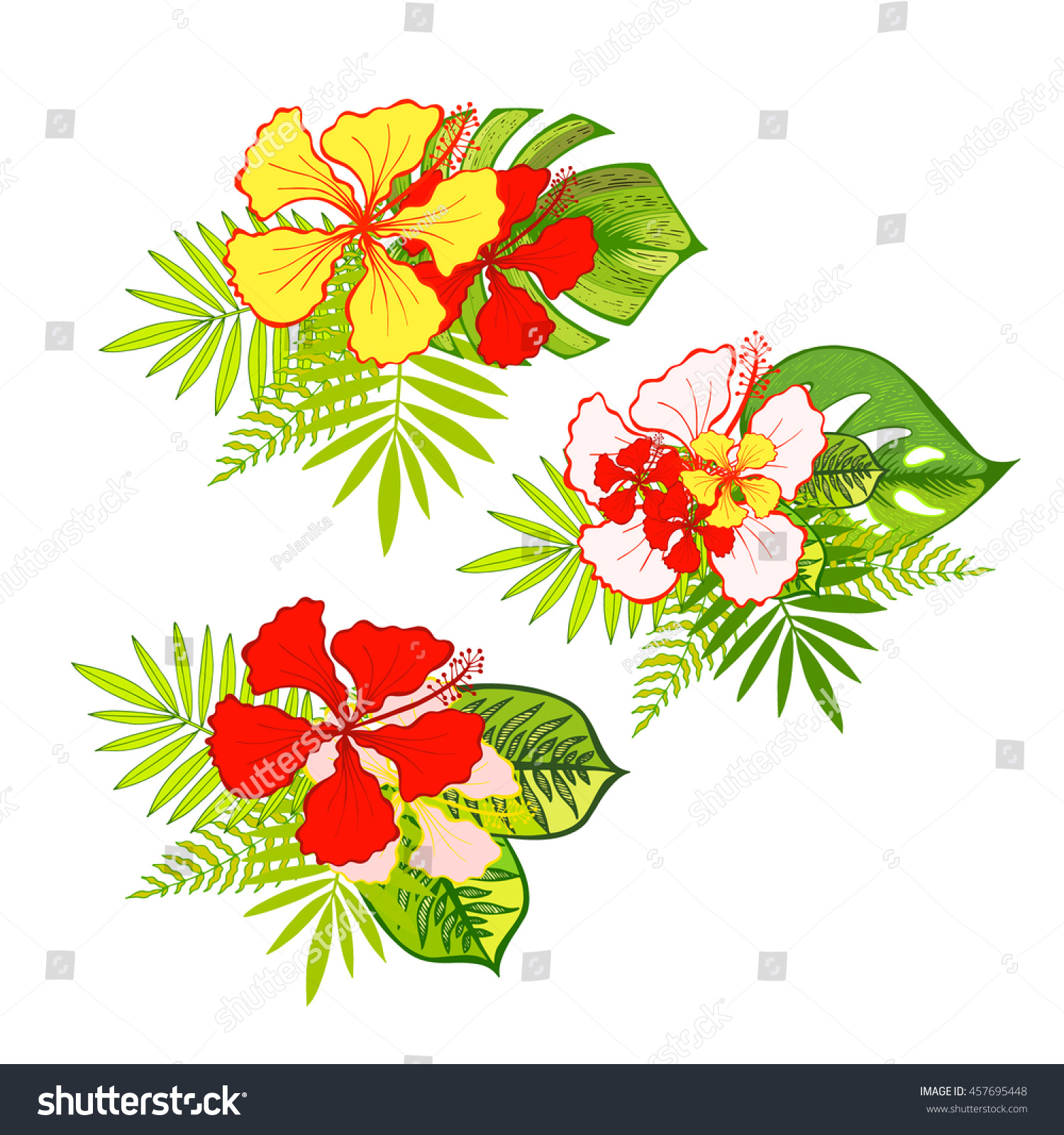 Tropical Exotic Flowers Bouquet Hibiscus Flower Stock Vector ...
