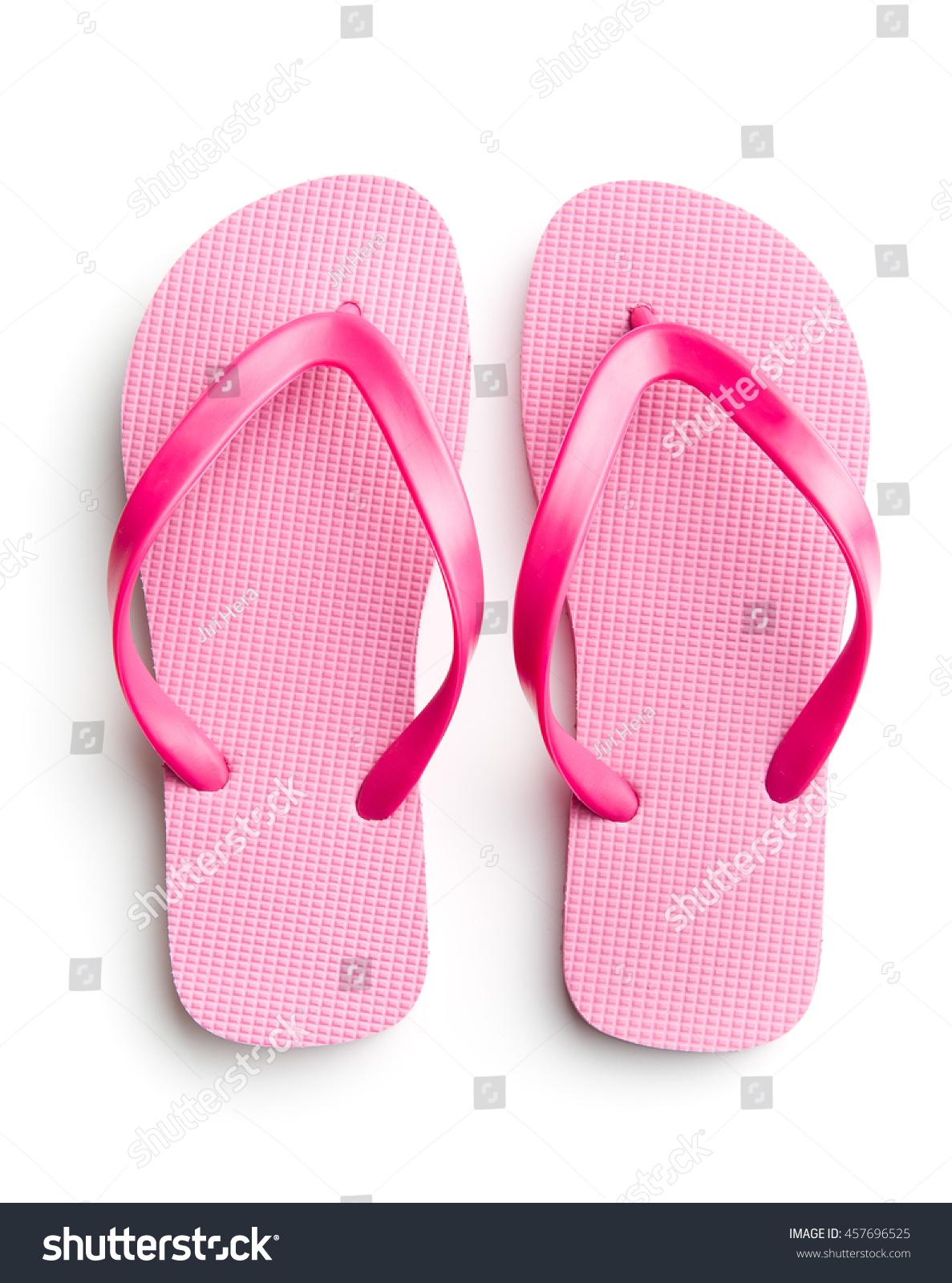 Pink Flip Flops Isolated On White Foto de stock (libre de regalías ...