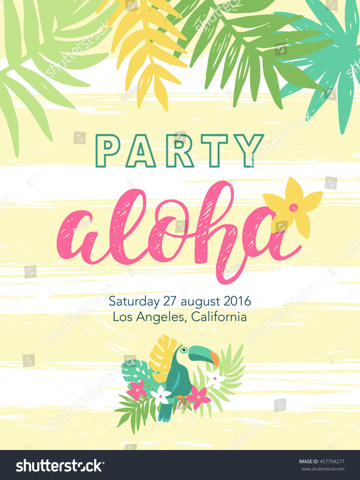 Tropical Beach Party Banner Template Aloha Stock Vector