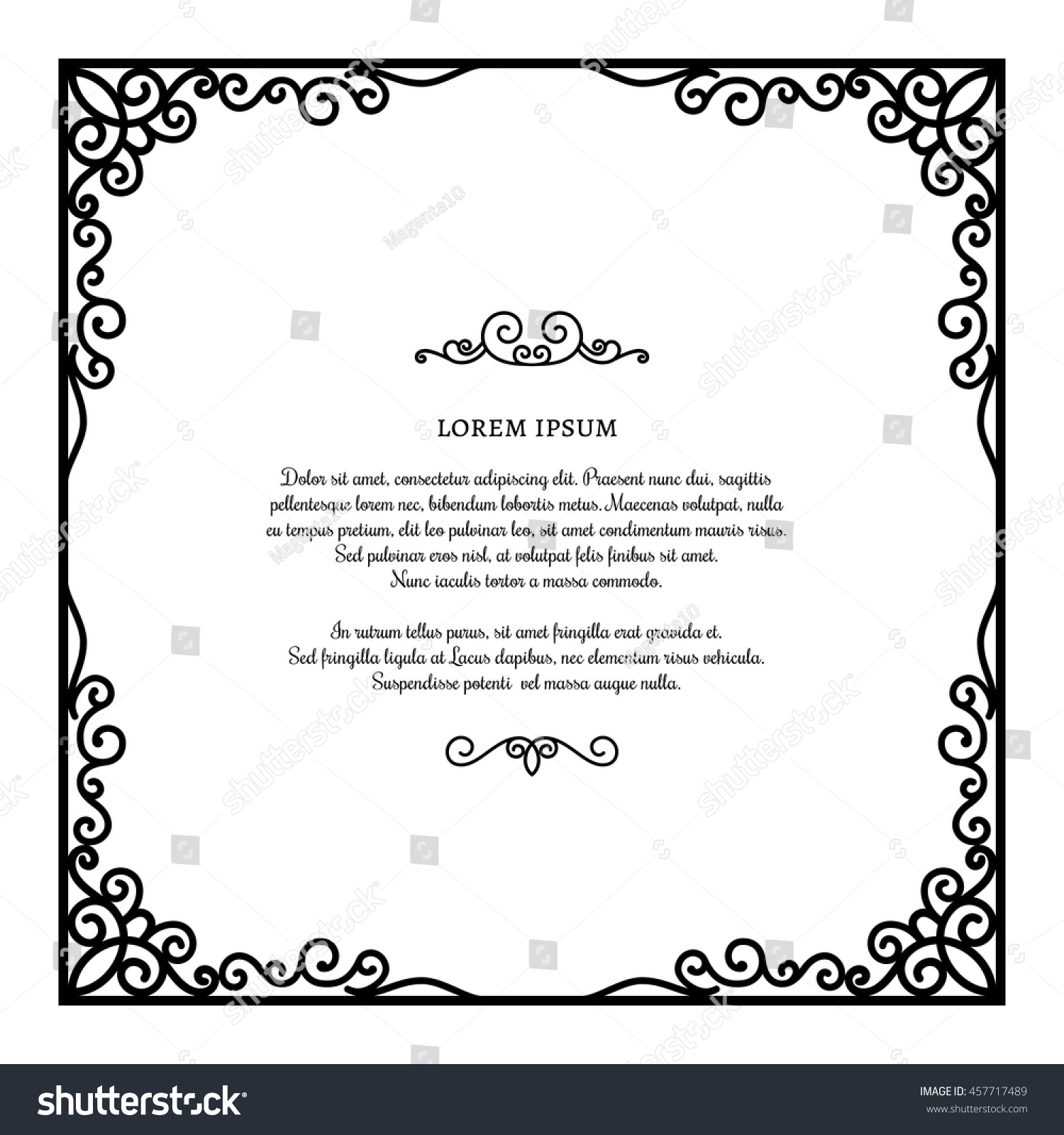 Vintage Square Frame Ornamental Corners Vector Stock Vector Royalty