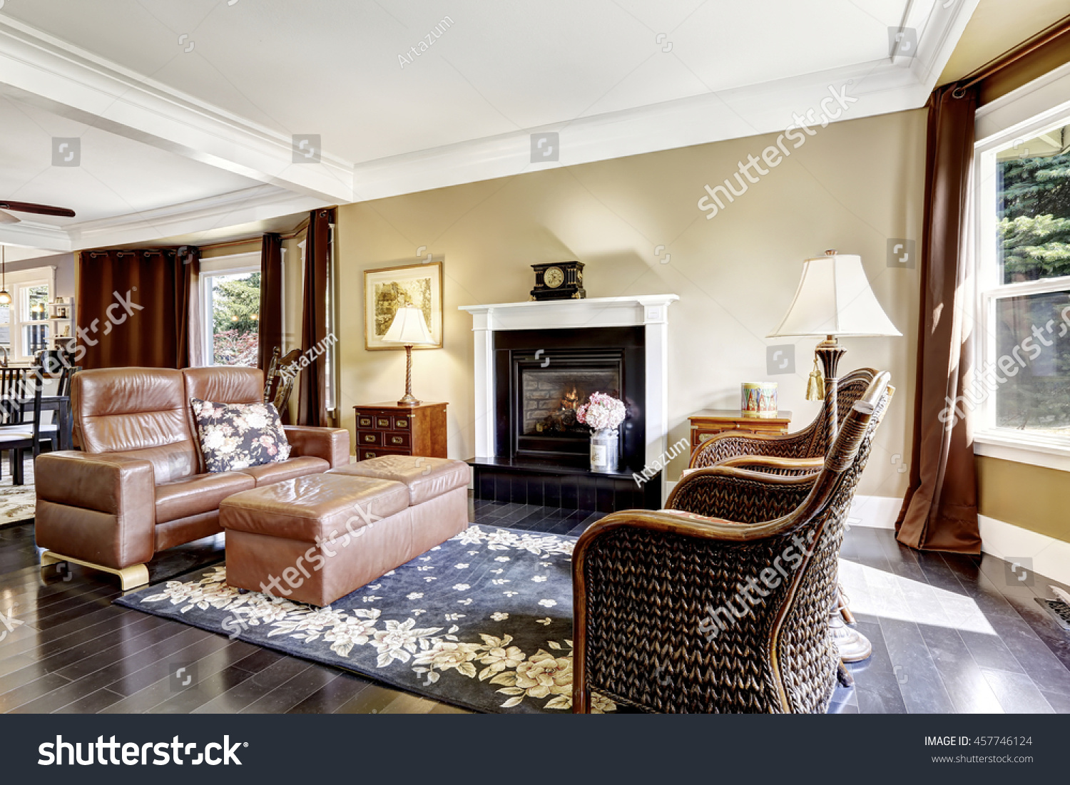 luxury home interior brown tones fireplace stock photo royalty free