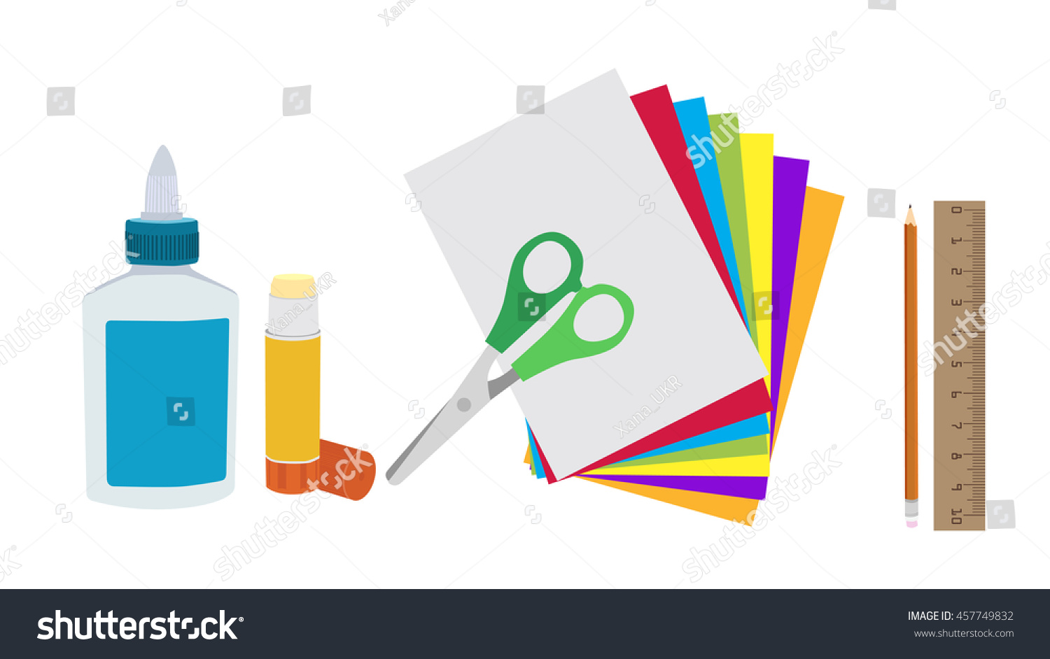 Glue Paper And Scissors Isolated Flat Vector Kids Art Craft Applique Supplies