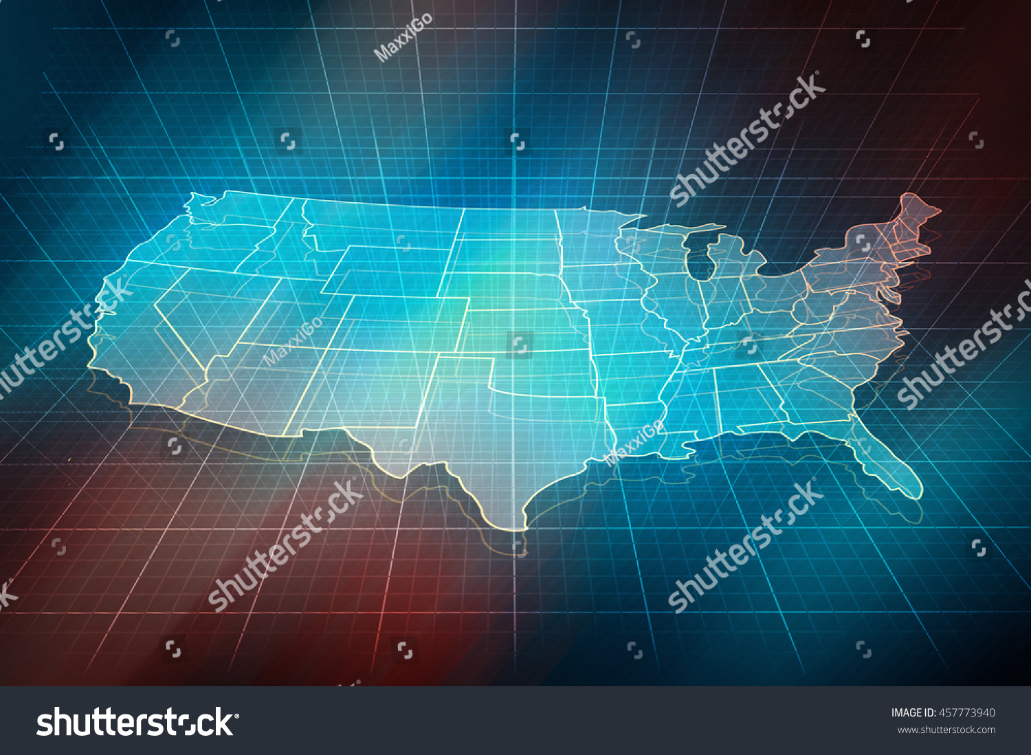 Digital Map Outlines Us States royalty free stock po download