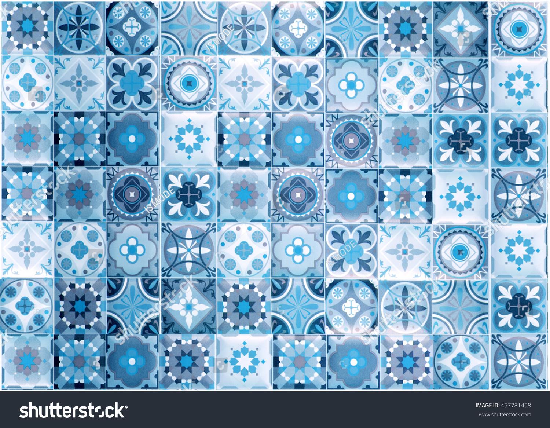 Moroccan Tile Pattern Background Colorful Vintage Ceramic Stock ...