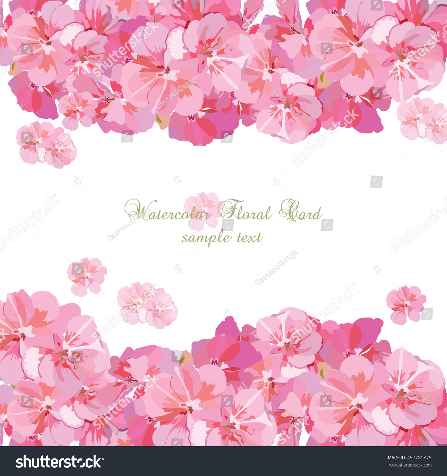 Pink Flowers Card Isolated On White Stock Photo Photo Vector