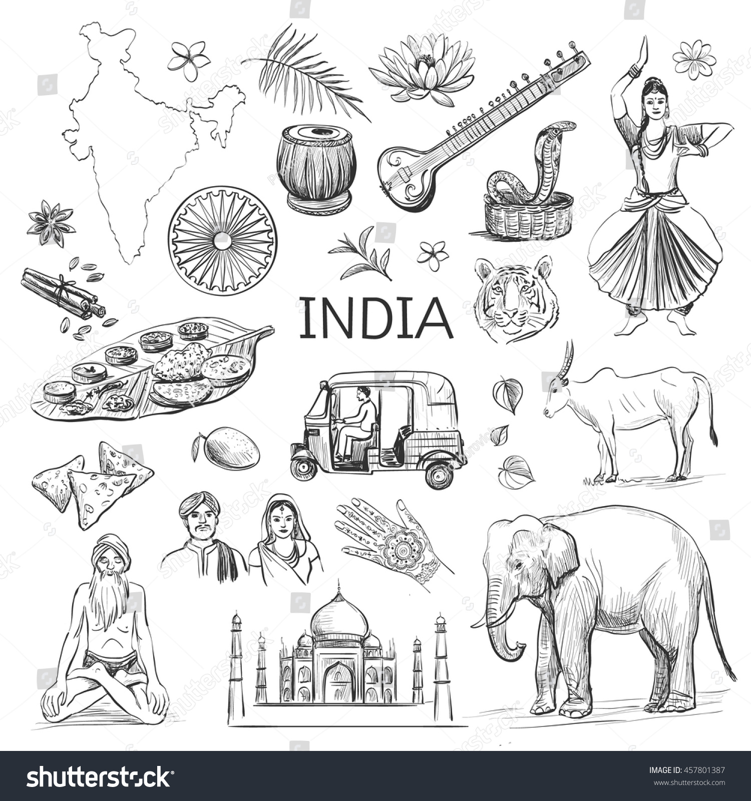 Isolated sketches on the theme of india n white background