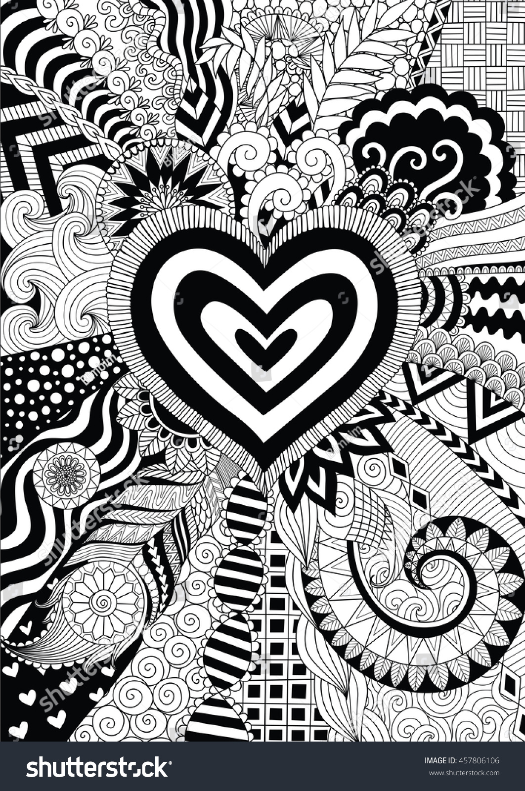 Line Art Card Design : Zendoodle design heart shape on abstract stock vector