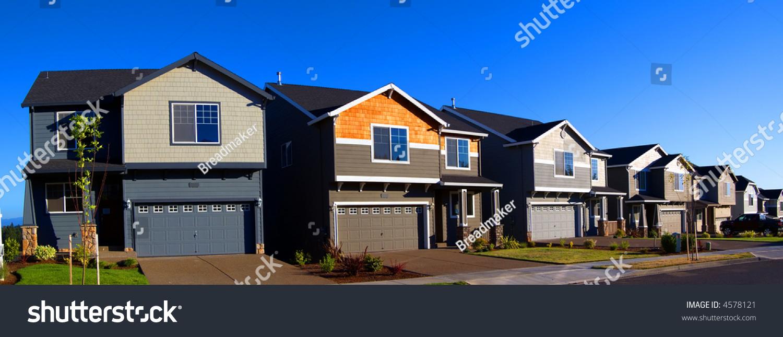 Beautiful new houses panorama of modern neighborhood